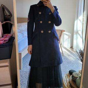 New coach navy long coat jacket